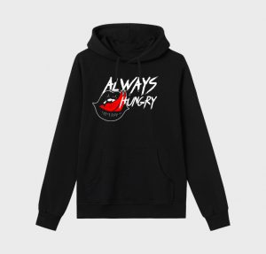 Always Hungry - Black Unisex Hoodie - Mouth Lip Tongue