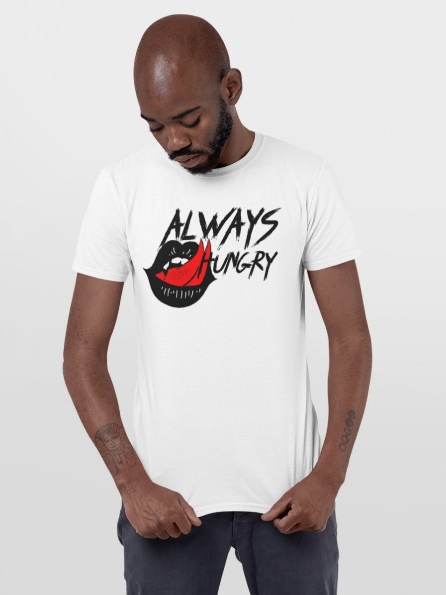 Always Hungry Mouth Lip Tongue Tee White 13